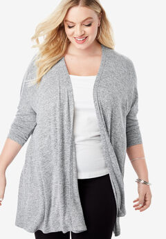 Supersoft Open-Front Cardigan with Pointed Hem,