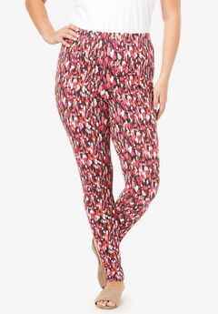 Ankle-Length Essential Stretch Legging, PINK BRUSHSTROKE PRINT