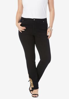 Gold Embroidered Straight-Leg Jean with Invisible Stretch® by Denim 24/7®,