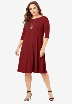 Ultra Smooth Boatneck Swing Dress,