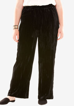 Pleated Velvet Pant, BLACK