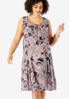 A-Line Crinkle Dress with Tassel Ties, NAVY PAISLEY PRINT