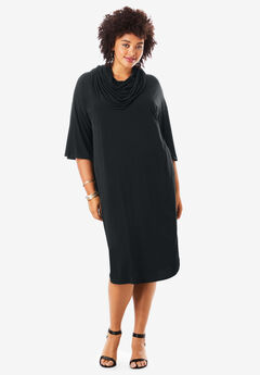 Cowl-Neck Dresses, BLACK