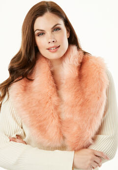 Adjustable Faux-Fur Scarf, BLUSH