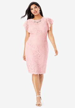 Lace Sheath Dress with Flutter Sleeves, PALE BLUSH