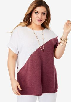 Colorblock Tee with Dolman Sleeves,