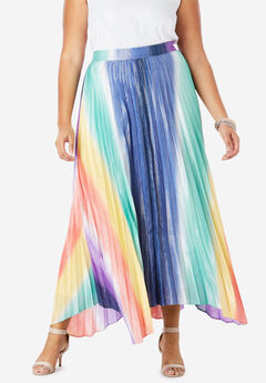 Pleated Midi Skirt With Metallic, RAINBOW OMBRE