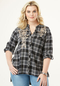 Plaid Flannel Maxi Tunic with High-Low Hem, BLACK EMBROIDERED PLAID