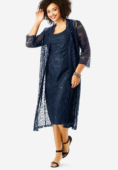 Flyaway Full Length Jacket Dress, NAVY