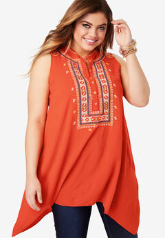 Embroidered Trapeze Tank with Handkerchief Hem,
