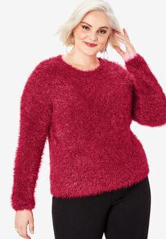 Metallic Eyelash Sweater, CLASSIC RED
