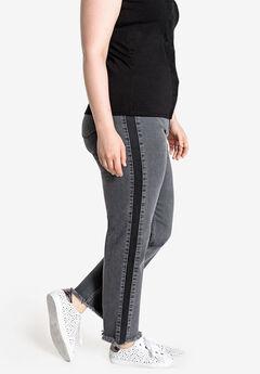 Contrast Side Panel Slim Leg Jean Castaluna ,