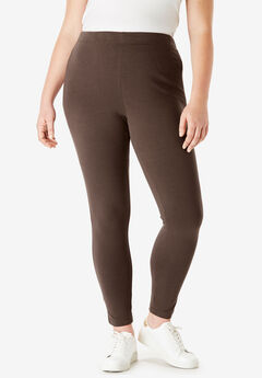 Ankle-Length Essential Stretch Legging, CHOCOLATE