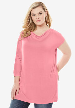 Asymmetrical Tunic with Dolman Sleeves,
