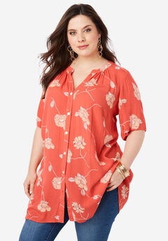 Angelina Tunic, CORAL FLORAL PRINT