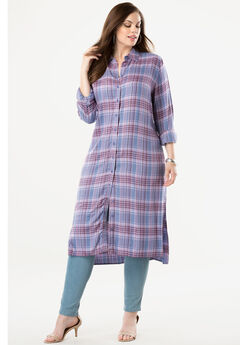 Button-Front Ultra Tunic, LAVENDER MIXED PLAID