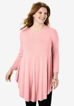 Boatneck Drape Tunic with Bracelet Sleeves, SOFT BLUSH