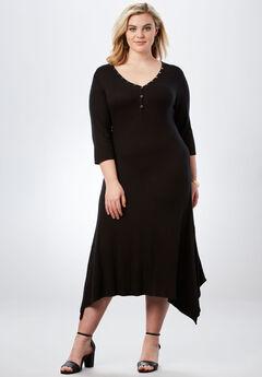 Henley Maxi Dress, BLACK