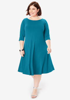 Swing Drape Dress with Three-Quarter Sleeves, DEEP TEAL