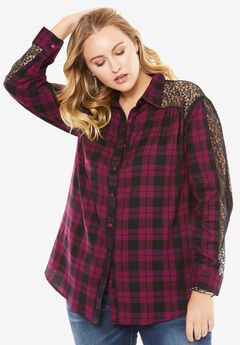 Lace Plaid Shirt,