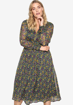 Crochet Empire Seam Dress Castaluna by La Redoute, CYPRESS GREEN FLORAL