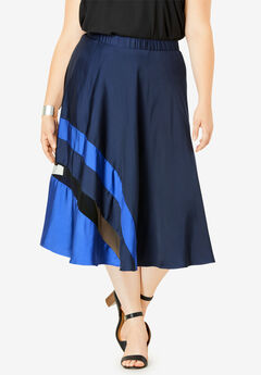 Colorblock Midi Skirt, NAVY COLORBLOCK