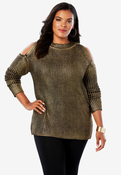 Cold-Shoulder Sweater with Foil Print, BRONZE
