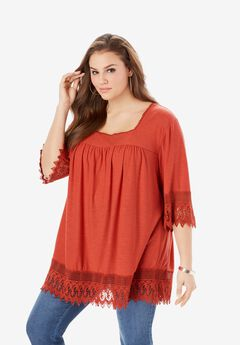 Lace-Trimmed Squareneck Tunic,