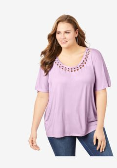 Braided Flutter-Sleeve Tee, PALE LAVENDER