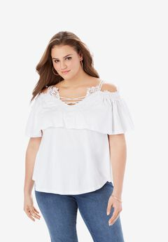 Lace-Trim Cold-Shoulder Top,