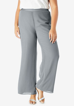 Georgette Wide-Leg Dress Pant, GUNMETAL