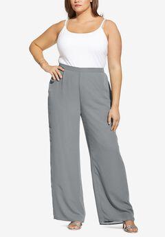 Georgette Wide-Leg Dress Pant,