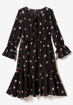 Ruffle Georgette Dress with Tie Sleeves,