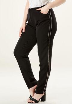 Dressy Tapered-Leg Trouser, RHINESTONE
