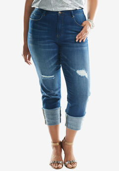 Cuffed Boyfriend Jeans by Denim 24/7®, MEDIUM STONEWASH