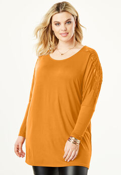 Lace Shoulder Drape Tunic, CRYSTAL HONEY