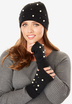 Beanie and Fingerless Gloves Set with Pearl Embellishments,
