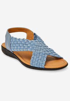 The Celestia Sling Sandal by Comfortview®, DENIM METALLIC