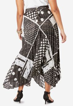 Pleated Midi Skirt With Metallic,
