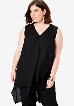 Sleeveless Overlay Tunic, BLACK