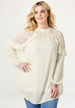 Lace-Shoulder Keyhole Tunic,