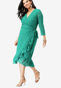 Lace Midi Wrap Dress, VIVID EMERALD