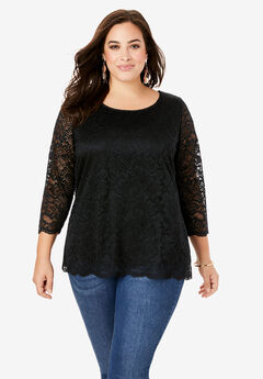 All-Over Lace Boatneck Tee with Illusion Sleeves, BLACK