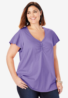 Sweetheart Ultimate Tee with Flutter Sleeves, PURPLE LILY