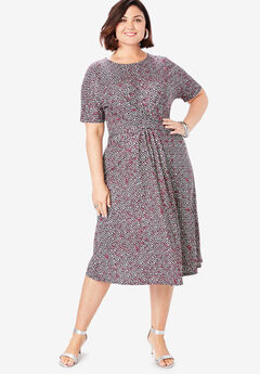 Twist Front Dress, TEXTURED PRINT