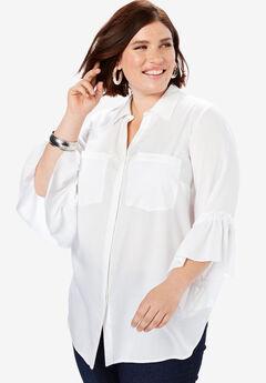 Ruffled Bell-Sleeve Shirt,