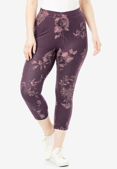 Essential Stretch Capri Legging, PURPLE SHADOW FLORAL