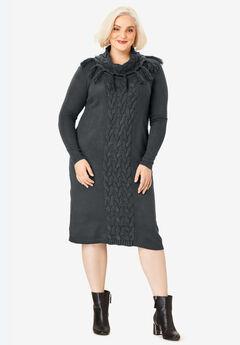 Fringed Cowl-Neck Sweater Dress, DARK CHARCOAL