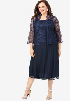 Glitter & Lace Jacket Dress Set, NAVY