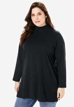 Mockneck Ultimate Tunic, BLACK